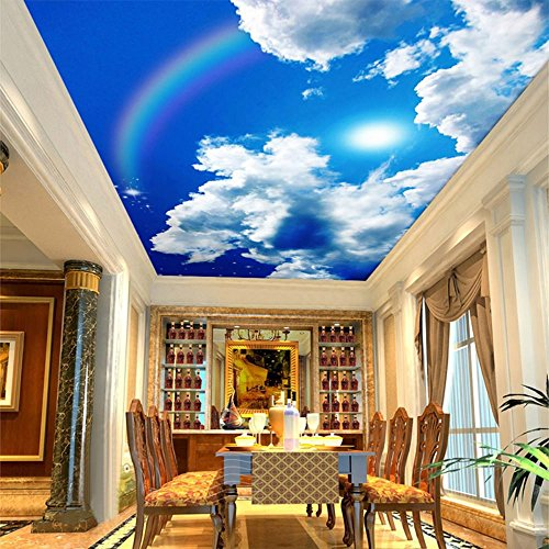 Colomac Wall Mural Blue Sky and White Clouds Rainbow Nature Landscape Ceiling Mural Suitable for Cafe Living Room Study Home Decor Wallpaper 157.5 Inch x 118 Inch from colomac