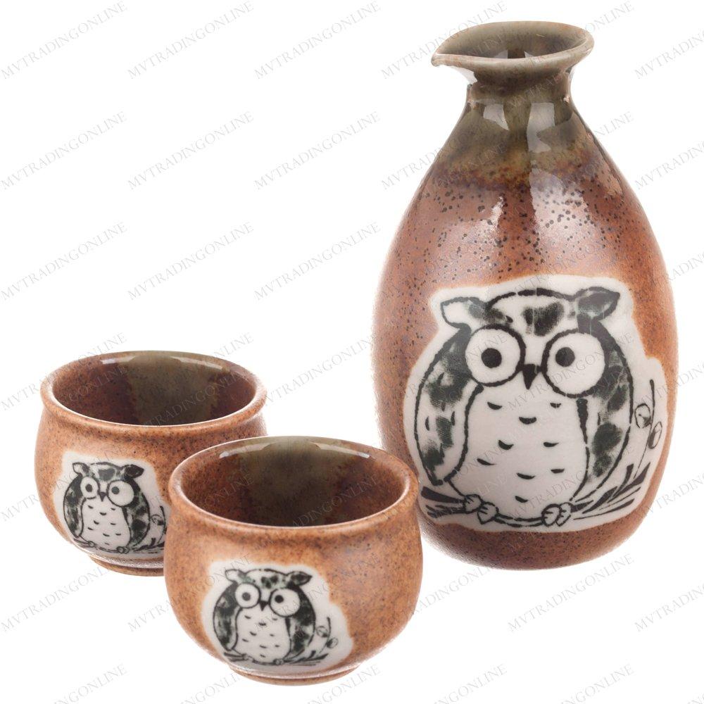 Kotobuki 120-548 Japanese Sake Set with 2 Cups (Brown/Oribe OWL)