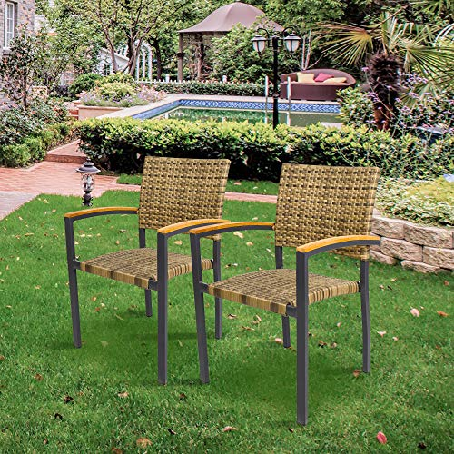Bistro Stackable (KARMAS PRODUCT 2 Pack Outdoor Patio All Weather PE Wicker Dining Chairs with Aluminum Alloy Frame,Stackable Rattan Bistro Cafe Balcony Backyard Armchair Set (Brown))