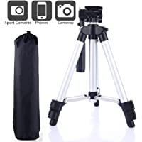 Camera Tripod,BECEMURU Aluminum Universal Phone Tripod Holder Mount Stand with Clip Travel Portable for Camera iPhone Cellphone Samsung Huawei HTC and Other Smart Phones