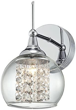 Possini Euro Crystal Rainfall 10 High Chrome Wall Sconce Crystal