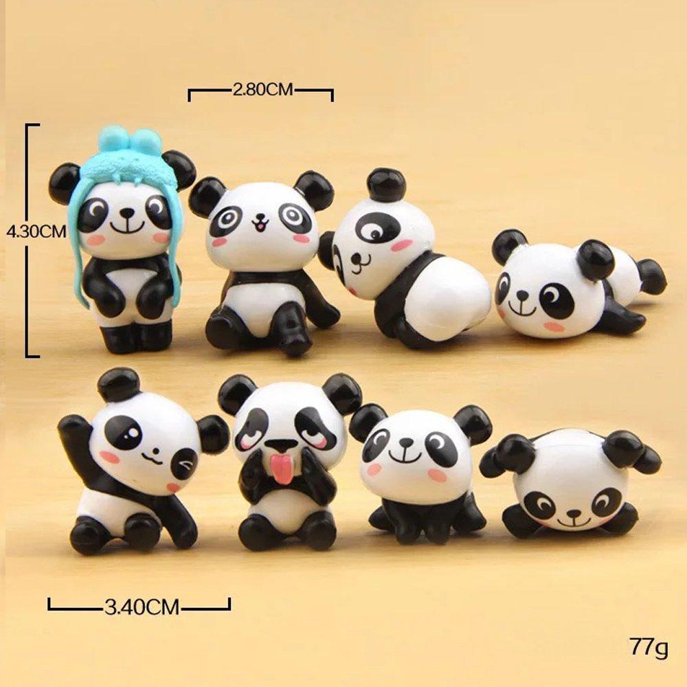 Amazon.com: 8 pcs (1 set) Cute Panda Toys Figurines Playset, Cake ...