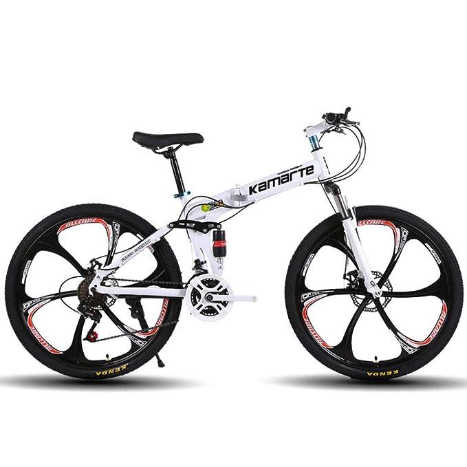 Bike Plegable Bicicleta de montaña Bicicleta amortiguación transmisión aleación de Aluminio 24/26 Pulgadas Doble Freno de Disco,Red: Amazon.es: Hogar