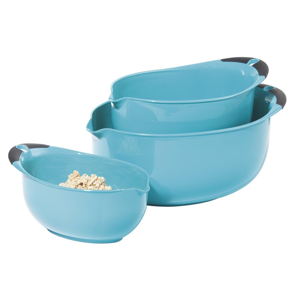 Oggi 3-Piece Oval Mixing Bowl Set, Aqua