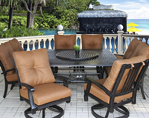 - Heritage Outdoor Living Cast Aluminum Barbados Outdoor Patio 9pc Set with Series 5000 64