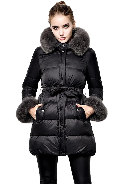 queenshiny Damen Daunenjacke Mantel mit Fuchs Pelz kragen mit Kapuze Winter