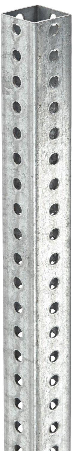 Tapco 054-00043 Galvanized Steel Square Post, 8' Length x 2'' Width x 2'' Depth x 0.075'' Thick