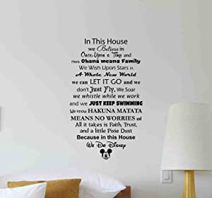 In This House We Do Disney Wall Decal Walt Disney Quote Lettering Vinyl Sticker Living Room Boy Girl Teens Kids Decorations Housewares Home Bedroom Nursery Decor Art Poster Mural Custom Print 670