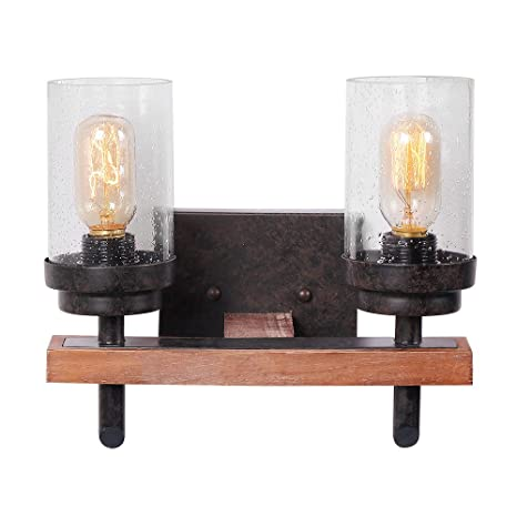 Eumyviv 17805 2 Lights Vintage Industrial Metalu0026Wood Wall Lamp With Bubble  Glass Shade Retro Rustic