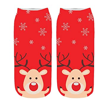Most Wished! Teresamoon Womens 3D Cartoon Funny Christmas Crazy Cute Amazing Novelty Print Ankle Socks