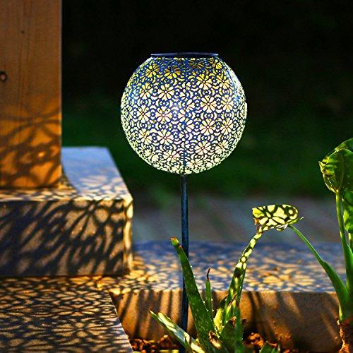 TAKE ME Solar Pathway Lights Garden Outdoor Landscape Lighting Waterproof Metal LED Stake Decorative Garden Decor Lights (Blue)