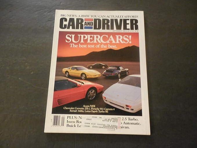 Car And Driver Sep 1990 Ferrari 348ts; Lotus Esprit Turbo; Porsche 911