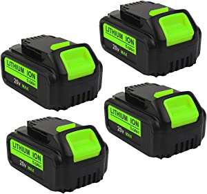4-Pack 5000mAh 20V DCB205 Battery Replacement for Dewalt 20-Volt MAX XR Batteries DCB204 DCB200 DCB203 DCB206 DCB204BT-2 DCB201 Lithium Ion Cordless Power Tools