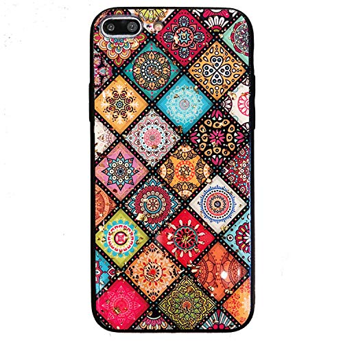 - GIZEE Phone Case Compatible with iPhone 7 Plus & iPhone 8 Plus, Bling Sparkle Glitter Gold Foil Luxury Ethnic Style Shockproof Anti-Scratch Protective Soft Glass-Like Silicone Back Cover (Colorful)