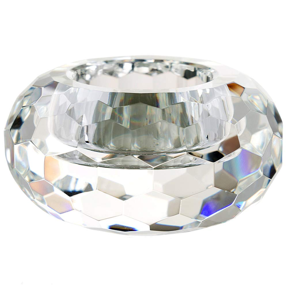 """DONOUCLS Crystal Tealight Holders Hand Cut Crystal Candle Holders Banquet Decorations for Dinner 3.2"""" Diameter x 1.6"""" High"""
