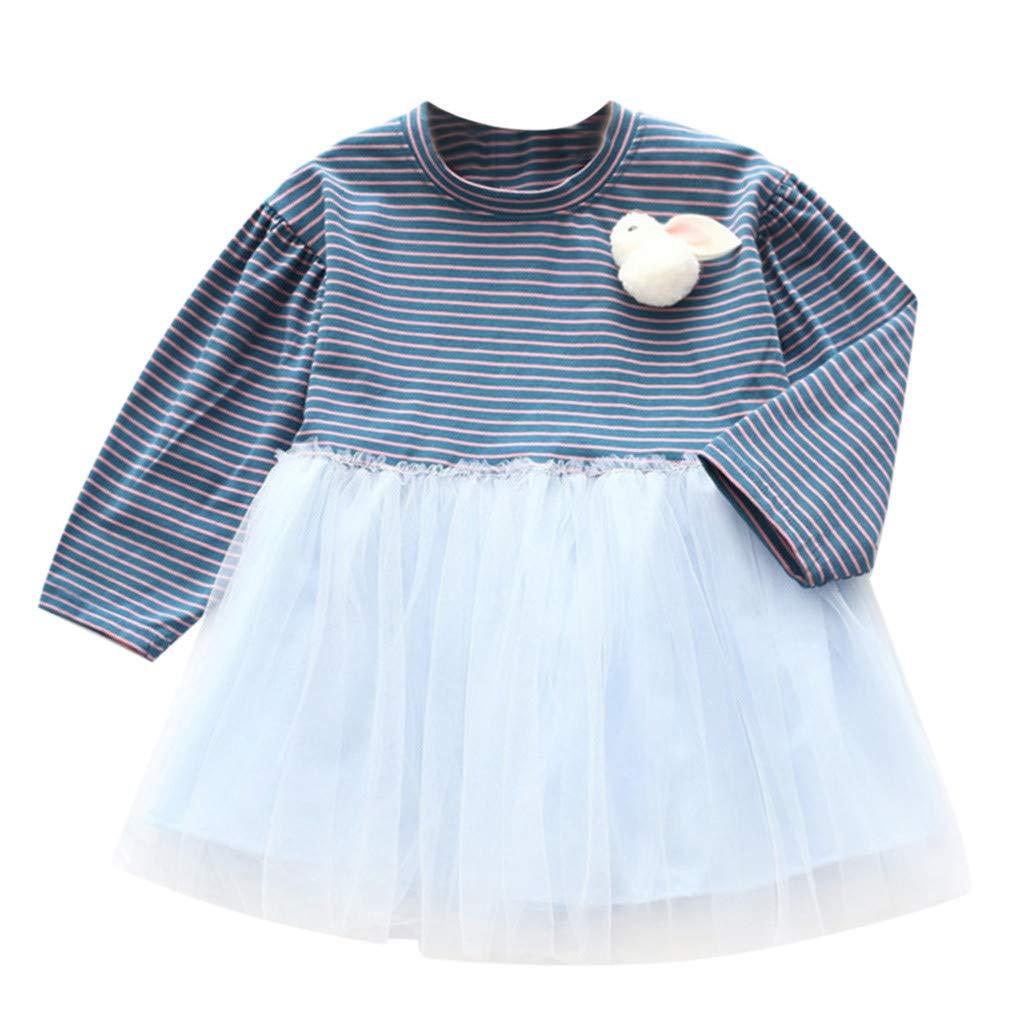 NUWFOR Toddler Kids Baby Girls Dress Rabbit Stripe Splice Tulle Party Princess Dresses(Dark Blue,6-7 Years)