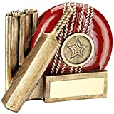 Lapal Dimension BRZ/RED CRICKET BALL, BAT AND STUMPS CHUNKY FLATBACK TROPHY (1in CENTRE) - 4.25i