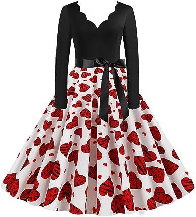 Vestiti Eleganti Valentino.Vestito Da Donna San Valentino Vintage Elegante Slim Stampa Amore