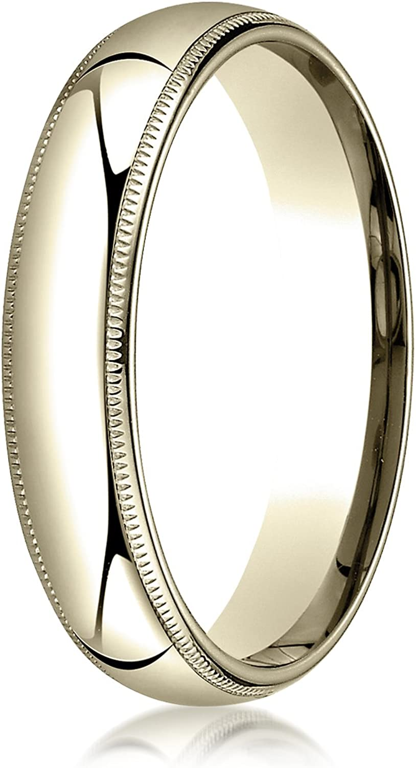 PriceRock 10K Yellow Gold 4mm Slightly Domed Traditional Oval Wedding Band Ring for Men /& Women Size 4 to 15