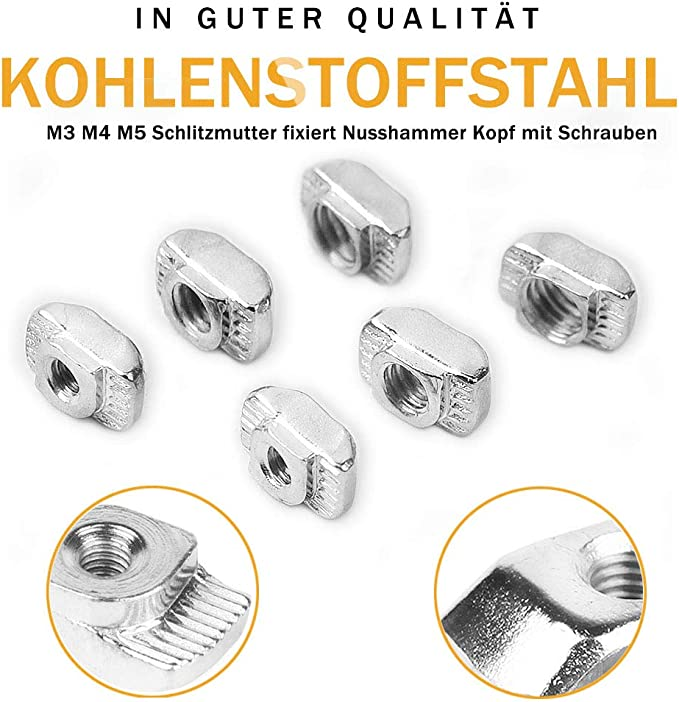 T-nutensteinen Hammermutter M3m4m5 Befestiger Nickelbeschichteten Kohlenstoffstahlm/öbel Nutensteine ??nutensteine Nut Sortierk/ästen Mit Schraubenschl/üssel F/ür Aluminium Holzbearbeitung 184pcs