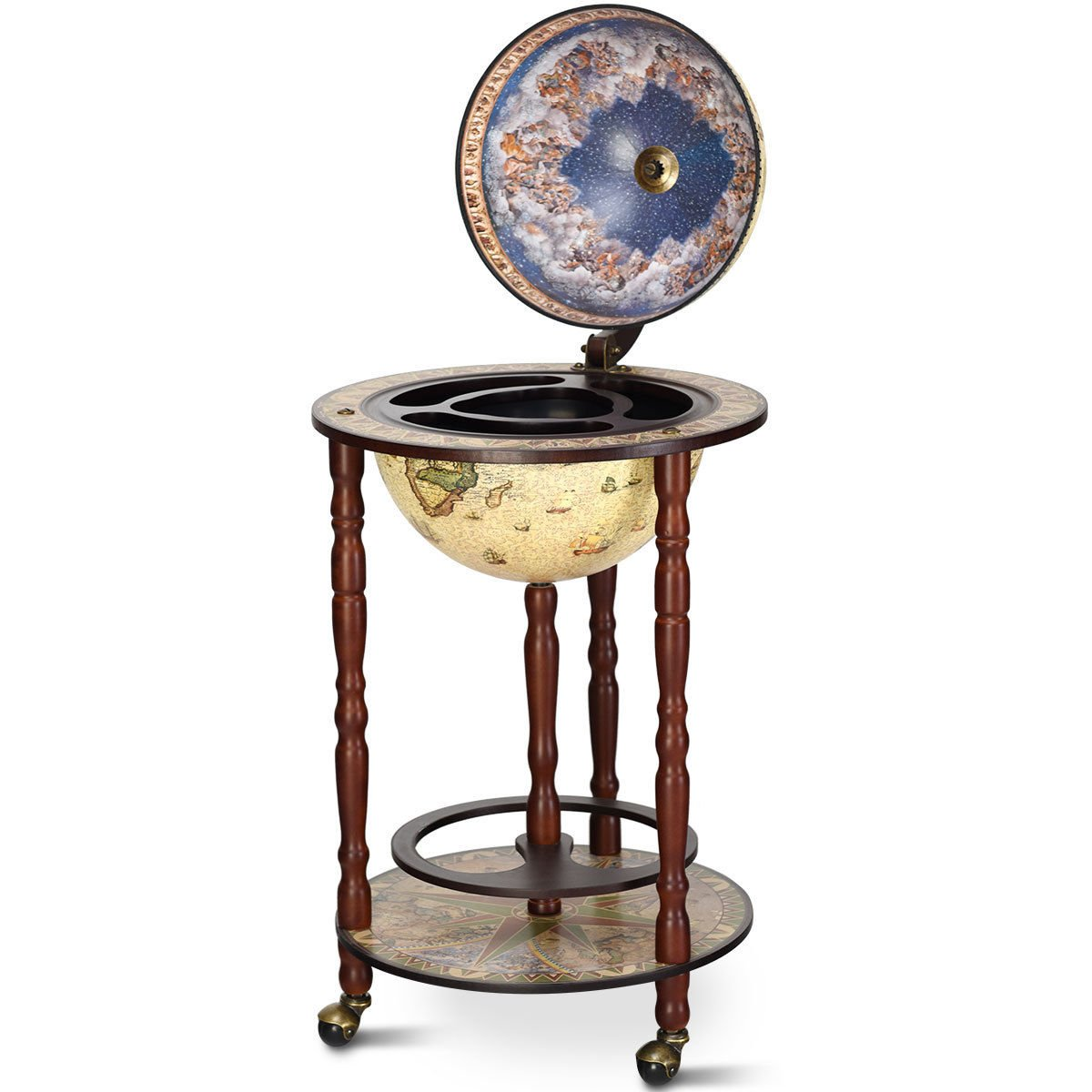 16th Century Antique Italian-Style Globe Wooden Construction Wine Rack Wine Bar Stand Holder Liquor Bottle Glass Shelf Cart 3 Wheels For Easy Movement Home Bar Kitchen Dining Room Living Room Decor by Almacén