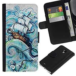 All Phone Most Case / Oferta Especial Cáscara Funda de cuero Monedero Cubierta de proteccion Caso / Wallet Case for Samsung Galaxy S4 Mini i9190 // Sail Ship Boat Sea Storm Ocean Captain