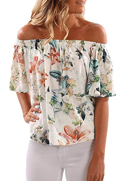 d88219f8aba905 CNFIO Womens Off Shoulder Short Sleeve Shirt Floral Print Elegant Tee  Blouse Tops White S(