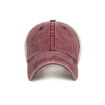 cfeb478cbd1b EJIOFP Ajustable Gorra de algodón Hombres Mujeres Ponytail Gorra de ...