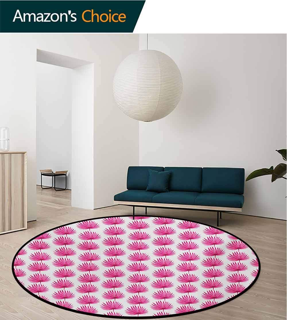 RUGSMAT Leaf Non-Slip Area Rug Pad Round,Watercolor Style Pink Tropical Leaves Exotic Hawaiian Jungle Island Foliage Protect Floors While Securing Rug Making Vacuuming,Diameter-47 Inch