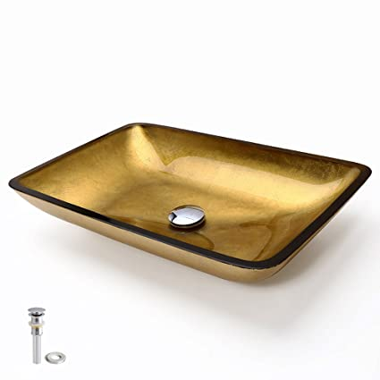 Lovedima Gold Rectangular Tempered Glass Vessel Sink (Including Drain And  Mounting Ring)