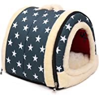 Pet Nest & Sofa Bed, Ancous Portable Foldable Dog Cat Rabbit House and Soft removable mattress, 3 Size (Medium, Blue)
