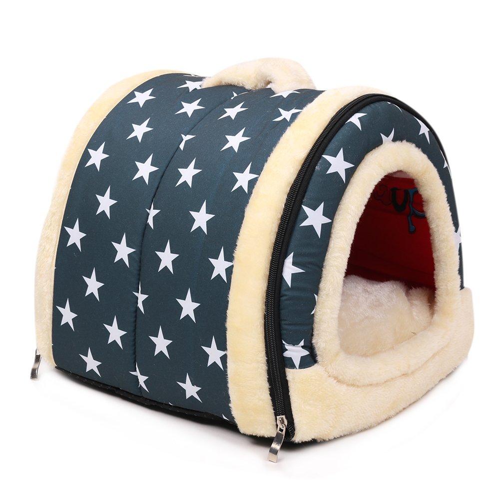 Casa para gatos perros cama mascota habitacion, 2 en 1 Casa y Sofá Antideslizante Plegable Suave Calentar Con Cojín Extraíble, Colchón de Cachemira ...