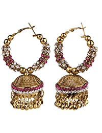 Efulgenz Indian Bollywood Bridal Designer Jewelry Oxidized Gold Plated Traditional Jhumka Jhumki Earrings for Women and Girls