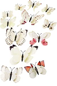 Tupalizy 12PCS Vibrant Double Wings 3D Butterfly Wall Stickers DecalsDIY Art Crafts Decorations for Windows Refrigerator Kids Girls Baby Bedroom Classroom Bathroom Home Office Birthday Party (Beige)