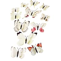 Tupalizy 12PCS Vibrant Double Wings 3D Butterfly Wall Stickers Decals DIY Art Crafts Decorations for Windows…