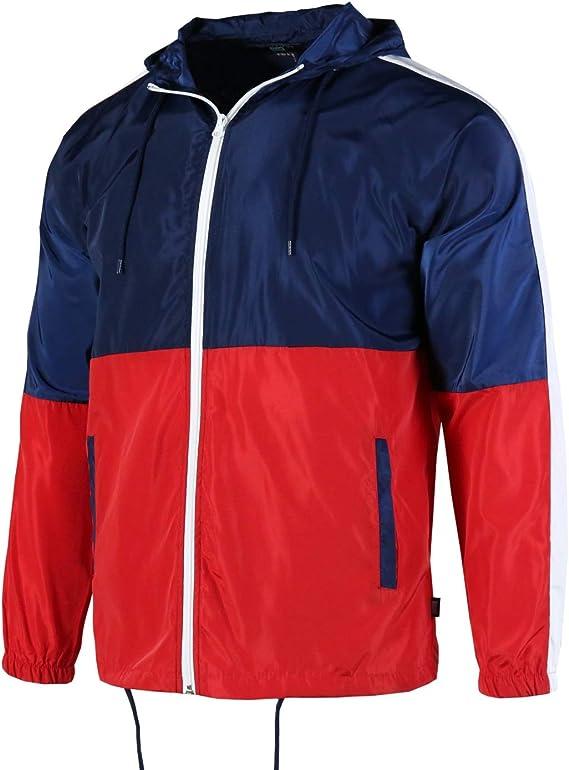 Beautiful Giant Mens Color Block Lightweight Outdoor Hooded Windbreaker Water Resistant Rain Jacket with Front Zipper