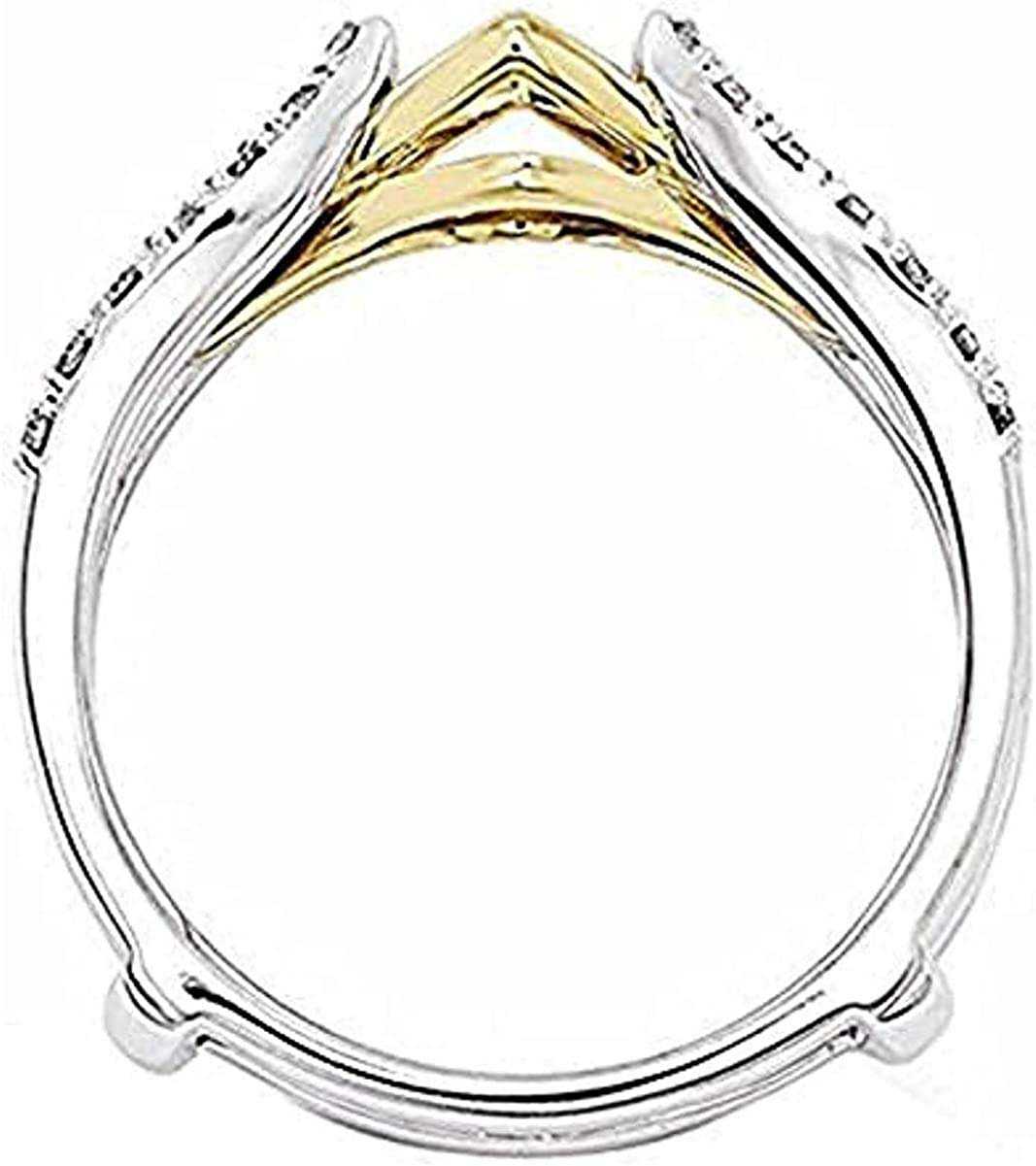 14K Two-Tone Gold Plated 925 Sterling Silver 0.70 Ct Round Cut Cubic Zirconia Ladies Anniversary Wedding Enhancer Ring Guard