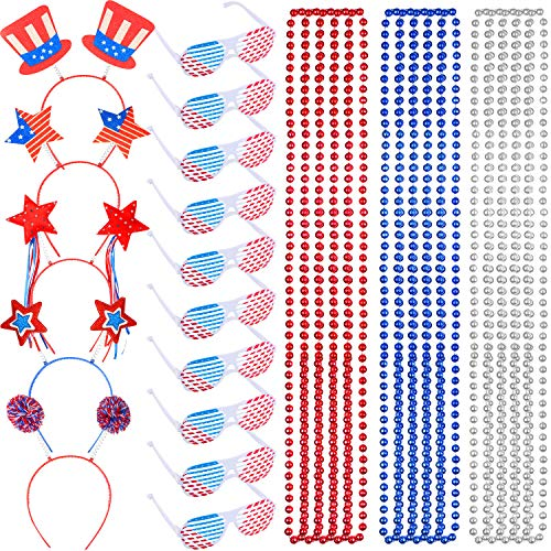 30 Pieces Red White Blue Accessories, Include 10 Pairs American Flag Shutter Glasses 15 Pieces Patriotic Bead Necklaces and 5 Pieces Patriotic Head Bopper Headbands for 4th of July