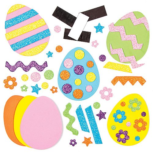 Easter Egg Mix & Match Magnet Foam Kits for Children to Personalize and Display as Spring Decoration (Pack of 10)