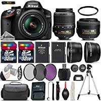Nikon D3200 DSLR Camera in Black + Nikon 35mm 1.8 G Lens + 0.43X Wide Angle Lens + 2.2x Telephoto Lens + 64GB Storage + UV-CPL-FLD Filters + UV Filter + Tripod - International Version