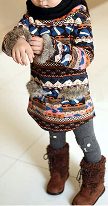 Kids Girls Winter Warm Fleece Rabbit Print Leggings Pants