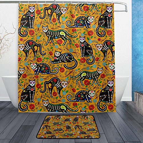 Yomyceo Floral Sugar Skull Black Cats in Mexican Style Halloween Waterproof Polyester Fabric Shower Curtain (60