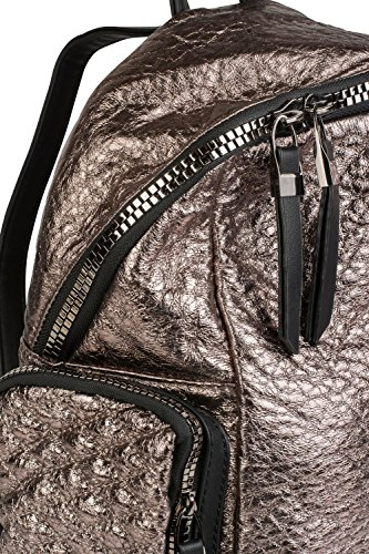 métallique sac femme métallique métallique sac aspect dos éclair main 02012199 sac à Bronze fermeture quadrillage styleBREAKER et à Bronze couleur wHqOxwf