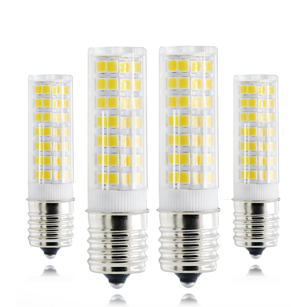 Dimmable LED E17 Bulb, 6W 6000K Daylight White Intermediate Base, 60W Equivalent, E17 LED Bulb for Microwave Oven Appliance, Freezer, Under-Microwave Stove Light, Ceiling Fan Light Fixture, etc 4Pack