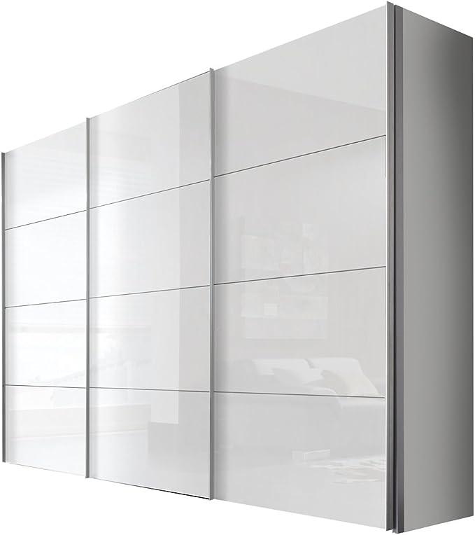 Solutions 49640 – 203 – Armario de Puertas correderas (3 Puertas, lacada Color Blanco, Frontal Blanco, Mango Listones alufarben, 68 x 300 x 216 cm: Amazon.es: Hogar