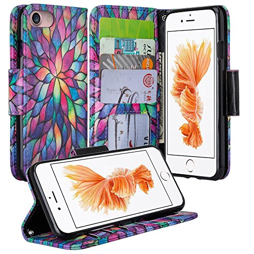 GALAXY WIRELESS Wrist Strap Flip Folio [Kickstand Feature] Pu Leather Wallet Case with ID and Credit Card Slot for iPhone 7 - Rainbow Flower