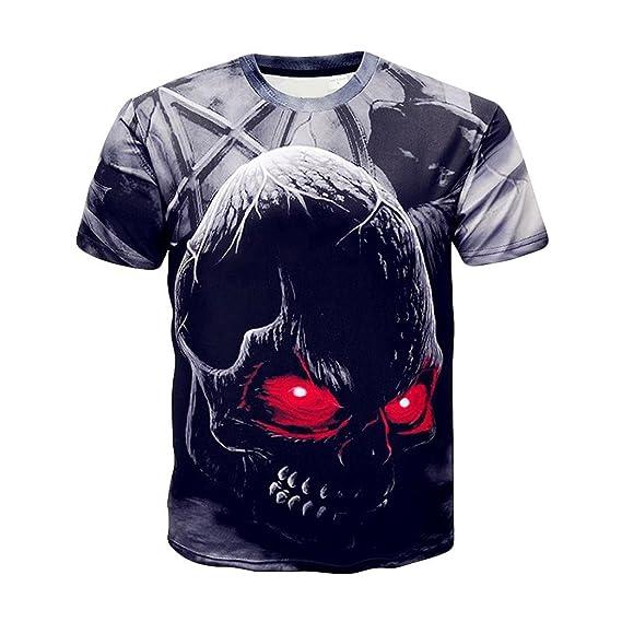 Camisetas Calaveras Hombre Casuales LHWY, Camisetas con Estampado De 3D Cuello Redondo Blusa Suelto Manga