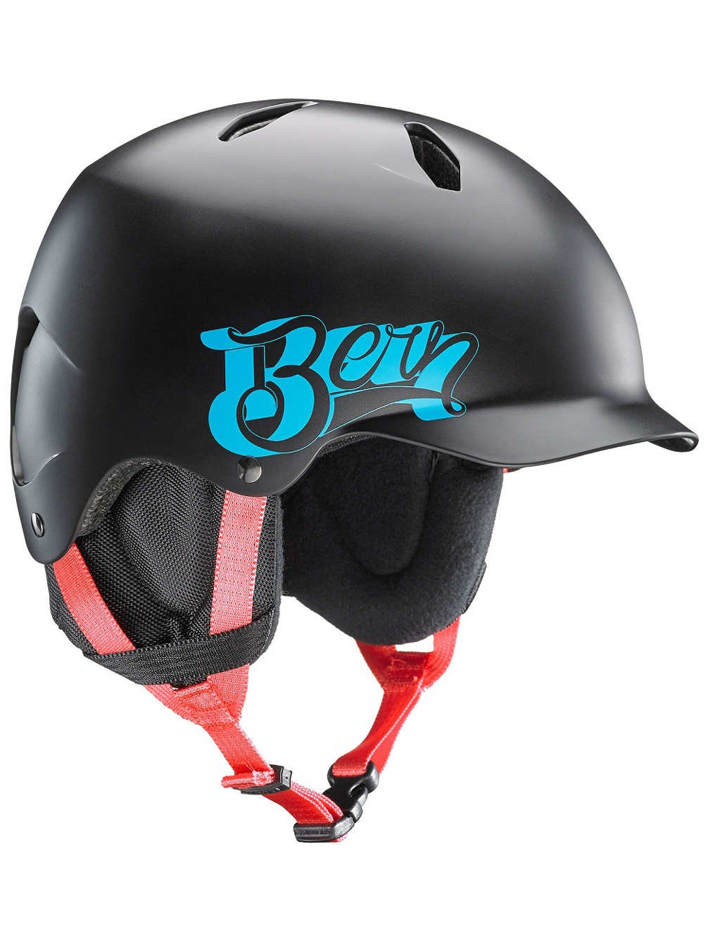 BERN Junior Bandito Ski Snow Helmet Satin Black Baseball SB03ESBKB Small Medium