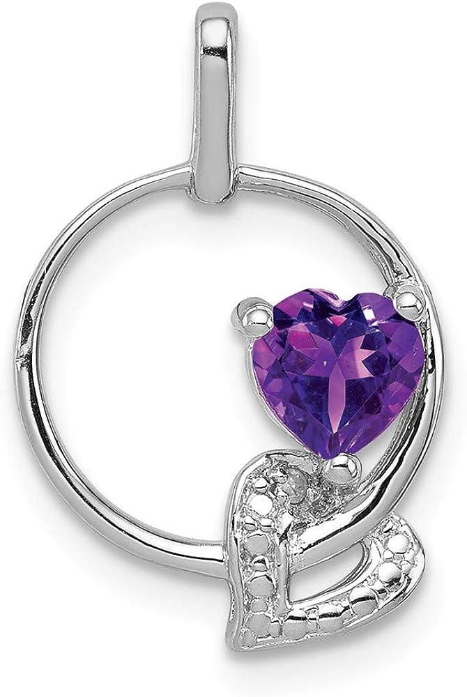 Solid 925 Sterling Silver Amethyst Purple February Gemstone Diamond Pendant Charm