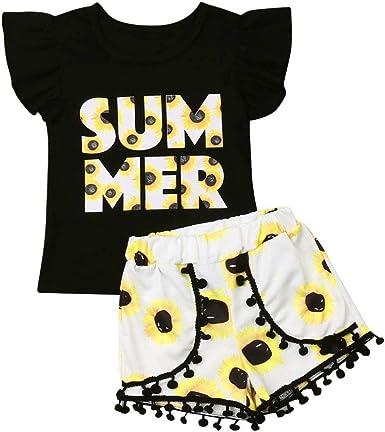 2pcs Toddler Kid Baby Girl Summer Clothes Floral T Shirt Tops Shorts Outfits Set